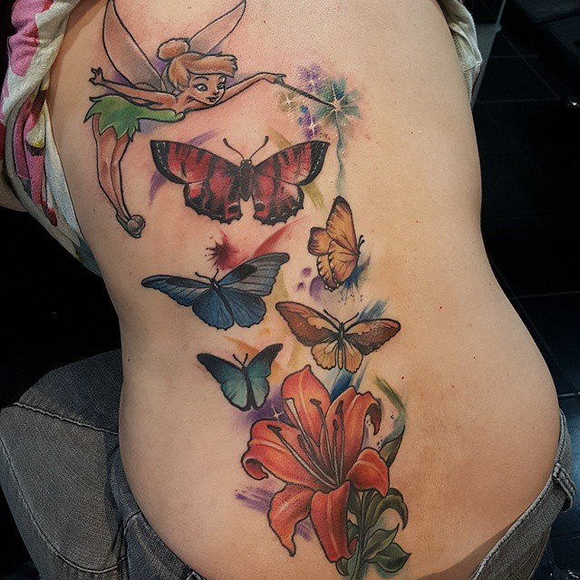 Lily Back Flower Tattoo: Color Butterflies With Fairy And Lily Flower Tattoo On Back