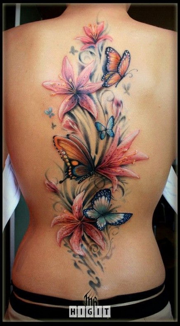 Color Butterflies and Lily Flowers Tattoos On Back