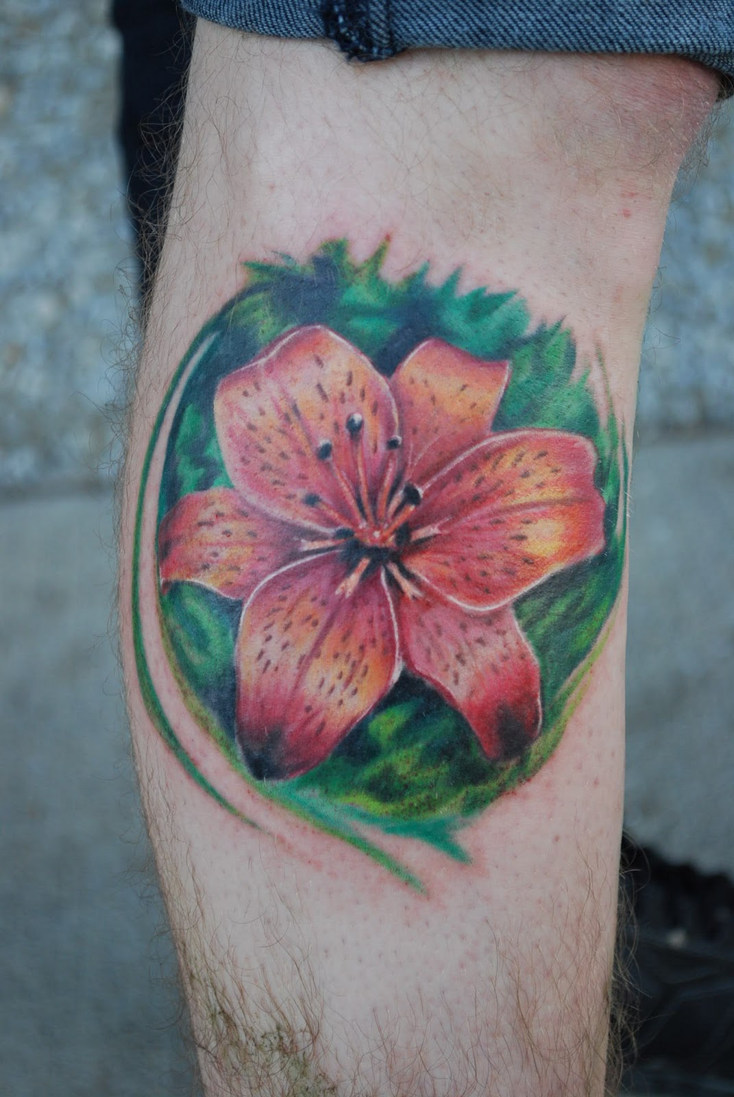 Color Ink Lily Flower Tattoo On Side Leg