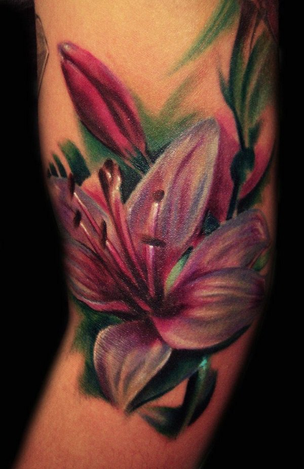Color Ink Lily Flower Tattoo On Sleeve