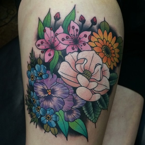 Color Daisy Tattoo: Colored Daisy Flower Tattoo On Right Thigh