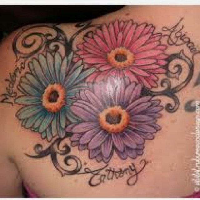 c39b2987a Colorful Daisy Flowers Tattoos On Left Back Shoulder