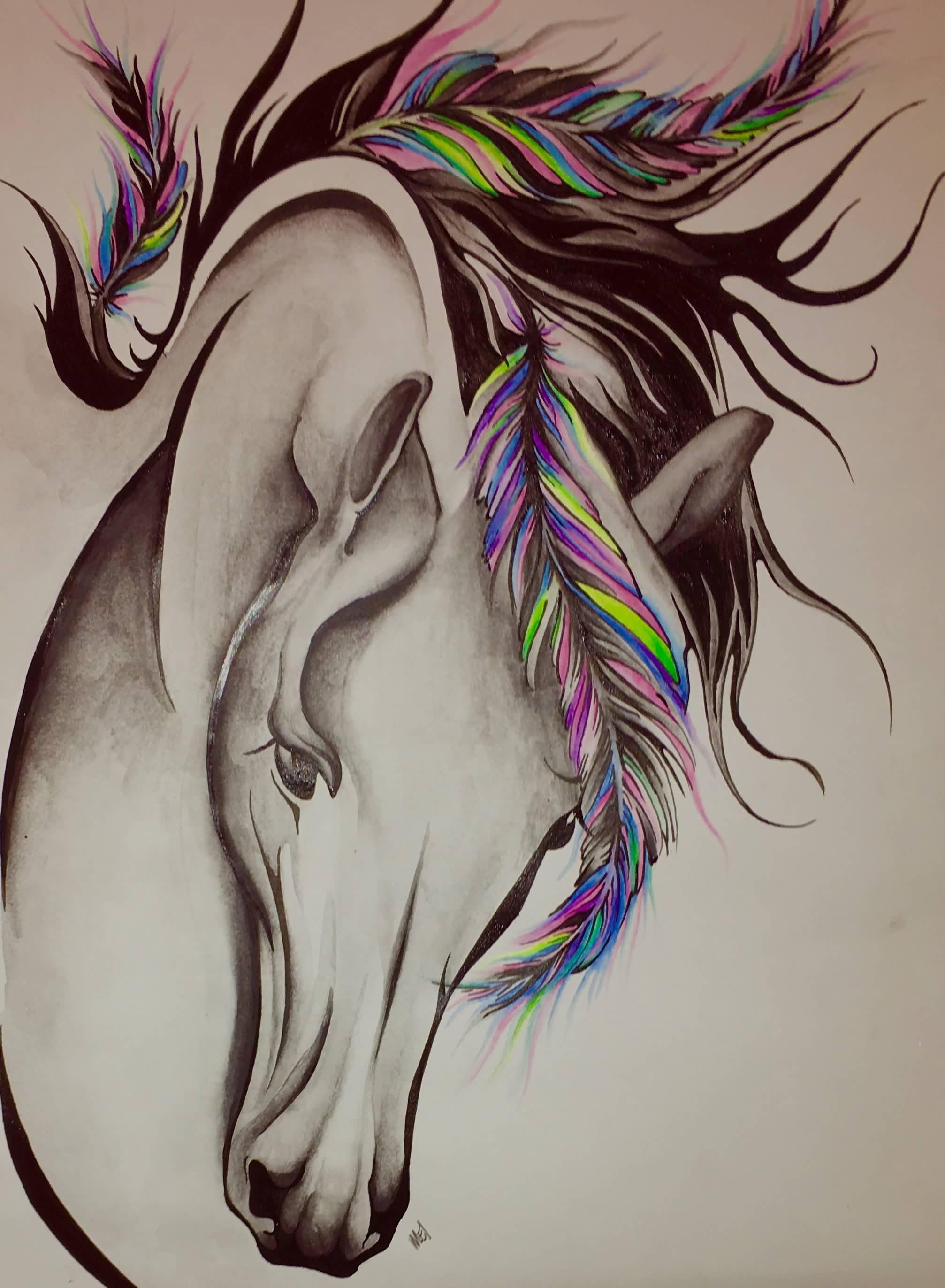 2fad8235eabe9 Colorful Feathers On Horse Head Tattoo Design