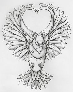 dove wings in heart shape tattoo design. Black Bedroom Furniture Sets. Home Design Ideas