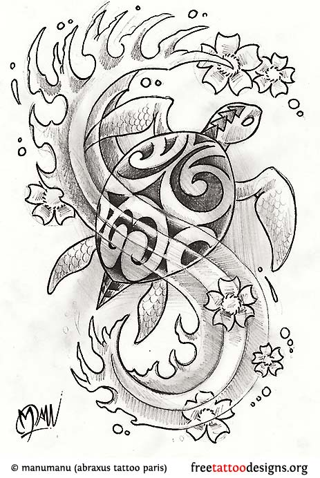 flowers and sea turtle tattoo design sample - Tattoo Idea Designs