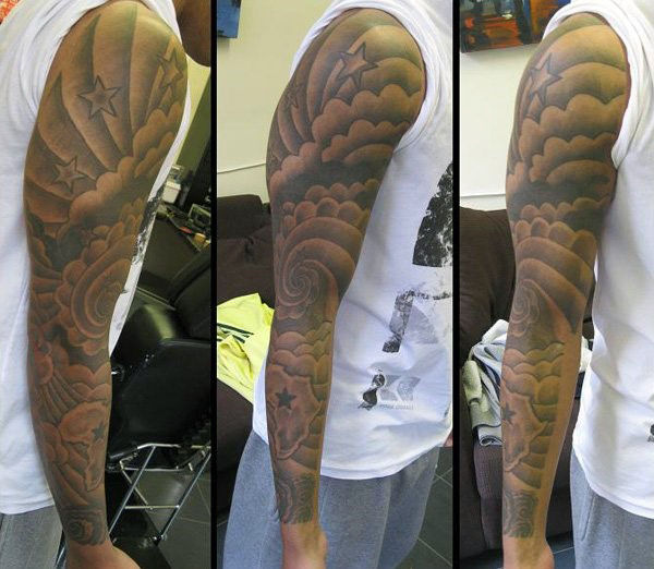36 clouds and stars tattoos with meanings for Full sleeve tattoo clouds
