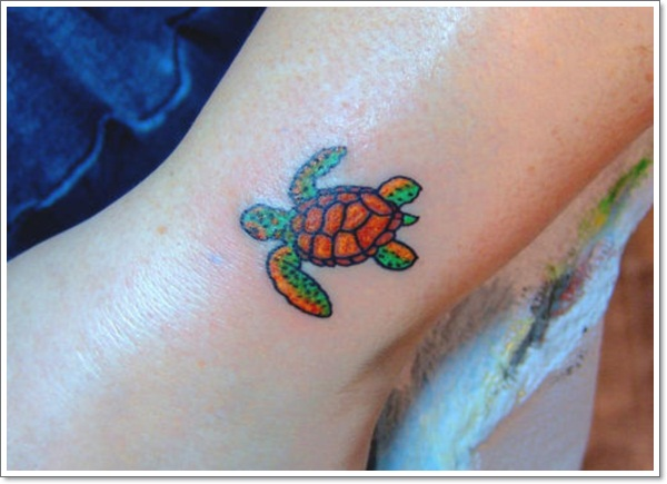 green and brown ink sea turtle tattoo on leg. Black Bedroom Furniture Sets. Home Design Ideas