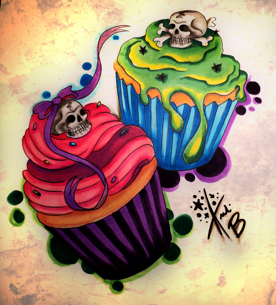54 sugar skull cupcake tattoos ideas with meaning green and pink sugar skull cupcake tattoos design biocorpaavc Images