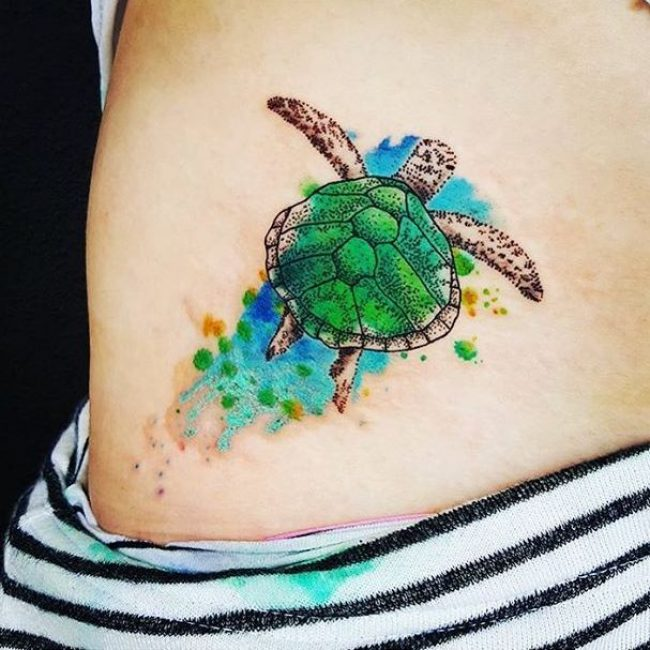 green sea turtle tattoo on hip. Black Bedroom Furniture Sets. Home Design Ideas