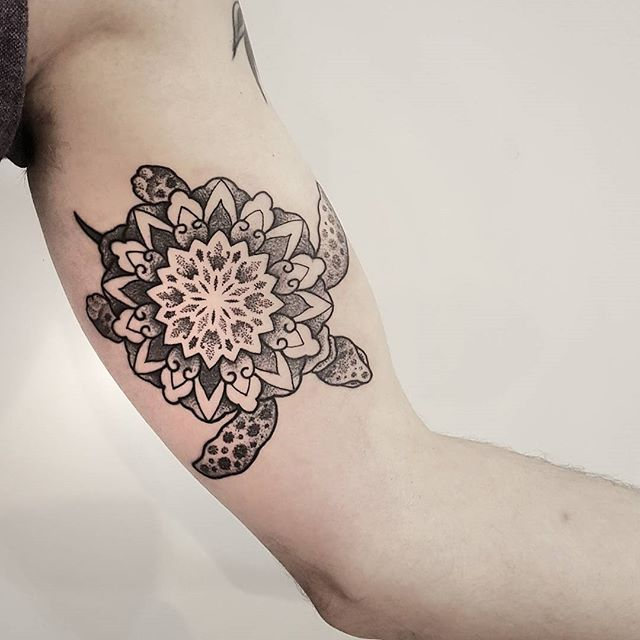 Feet Tattoos Tattoo S Idea Mandala Tattoo S Beauty: Grey And White Dotwork Mandala Flower Turtle Tattoo On Bicep