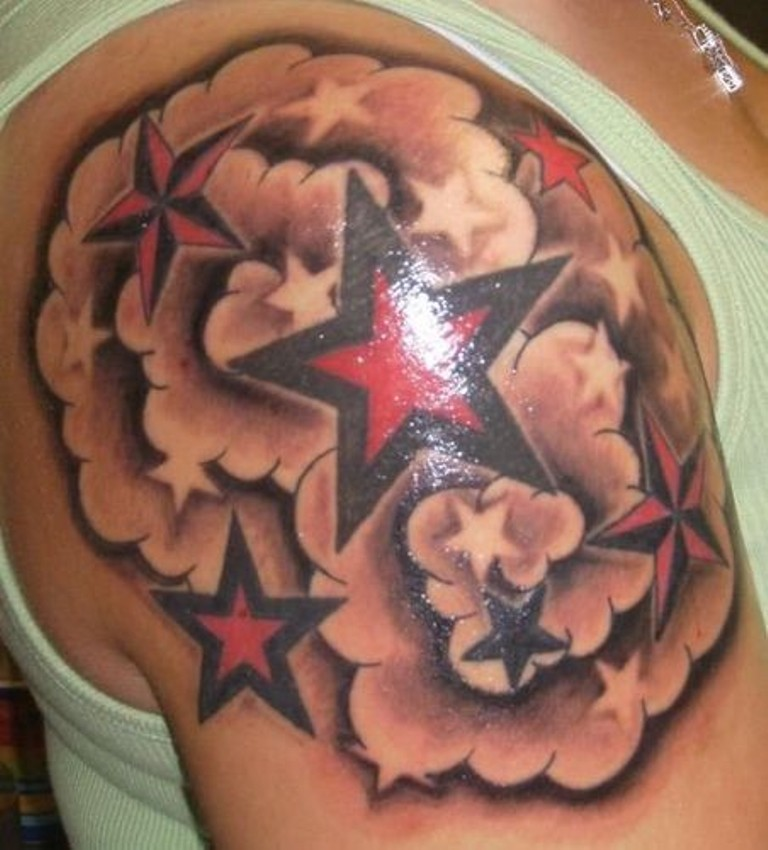 Stars Tattoo Meaning And Designs: 36+ Clouds And Stars Tattoos With Meanings