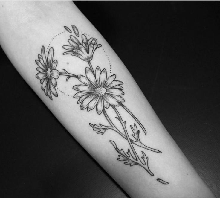 00579e0af39a2 Grey Ink Daisy Flowers Tattoos On Arm