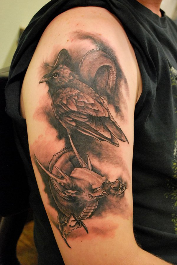 393b04c40 Grey Ink Raven Tattoos On Man Right Half Sleeve