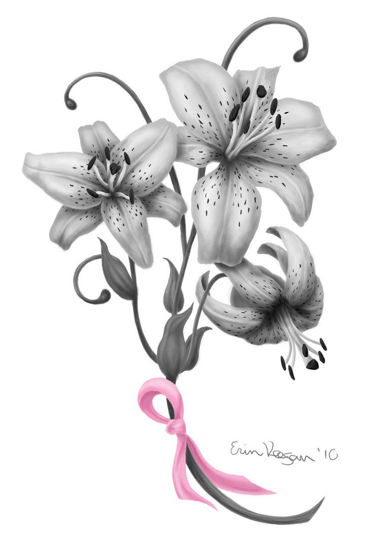 Grey Lily Flower Tattoo Design