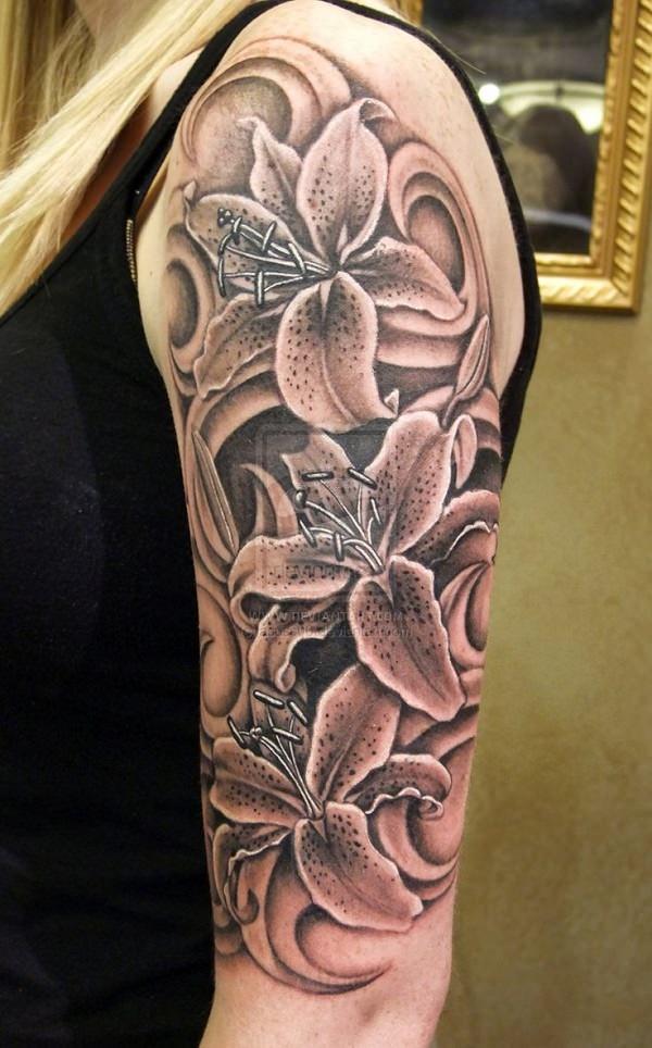 Grey Lily Flowers Tattoo On Half Sleeve