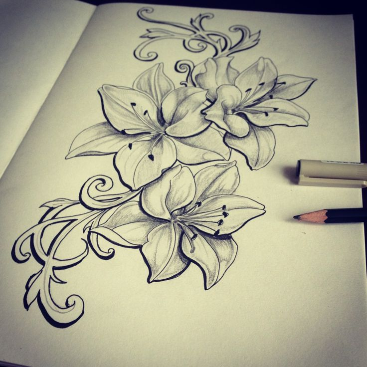 Grey Lily Flowers Tattoos Design