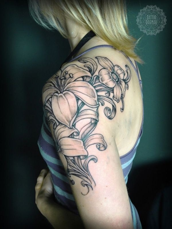 Grey Lily Flowers Tattoos On Girl Left Shoulder