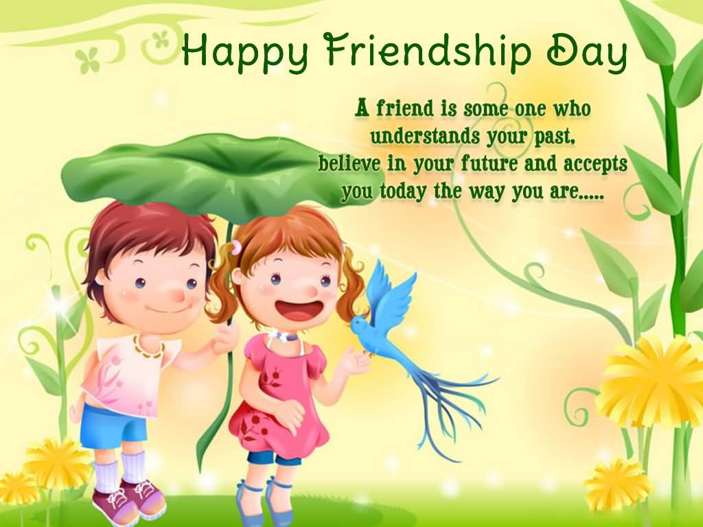 happy friendship day boy and girl with cute bird wallpaper