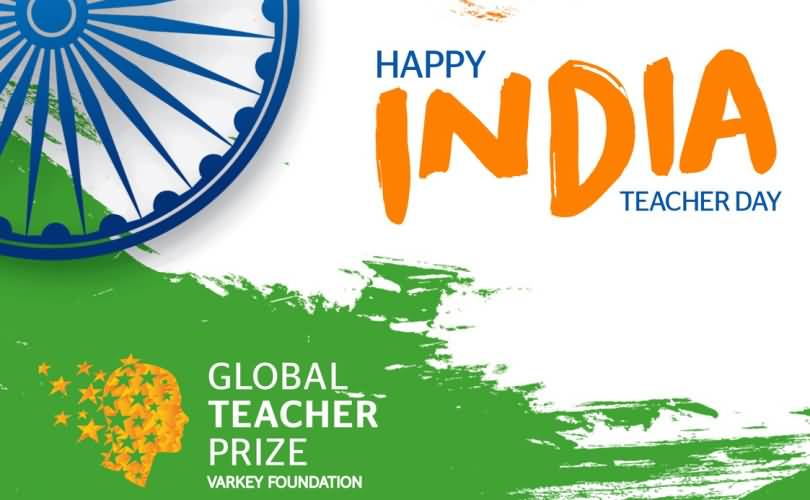 Happy India Teacher Day India Flag Tricolor In Background