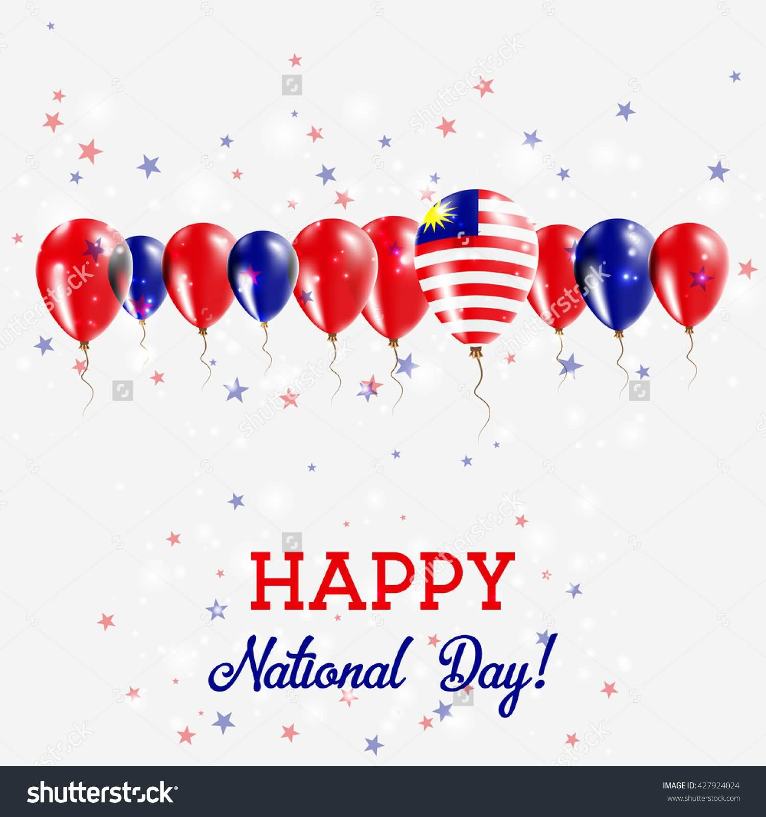 Happy National Day Malaysia Balloons Greeting Card