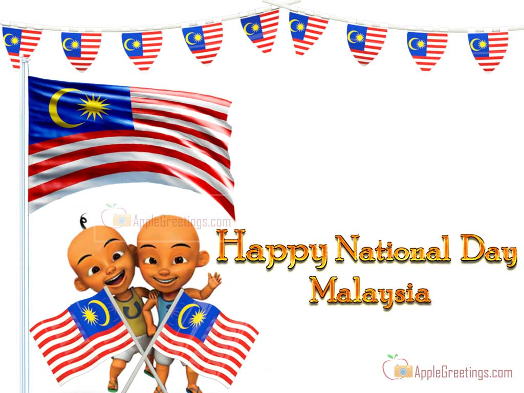 Happy National Day Malaysia Kids With Malaysian Flag
