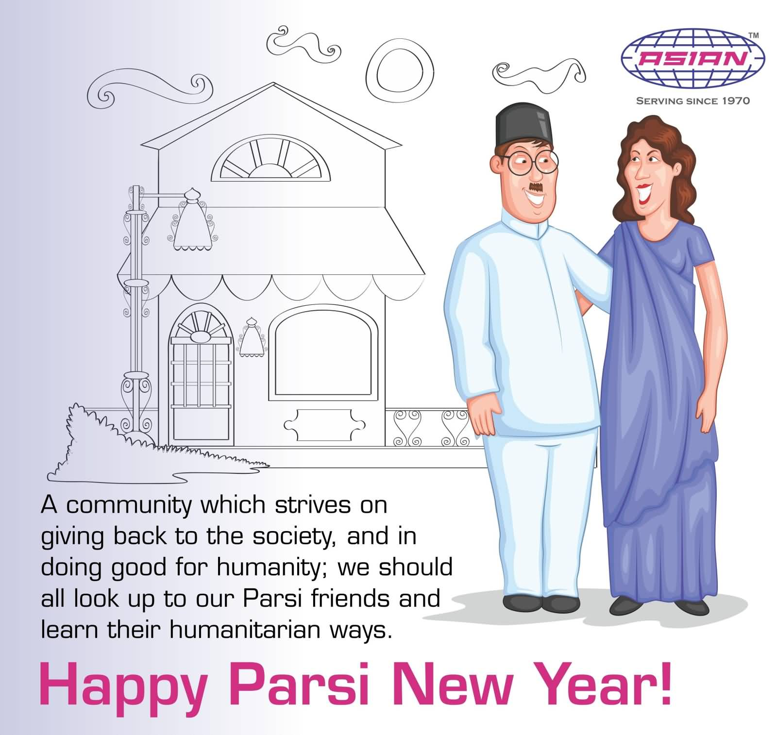 happy parsi new year parsi couple beautiful greeting card