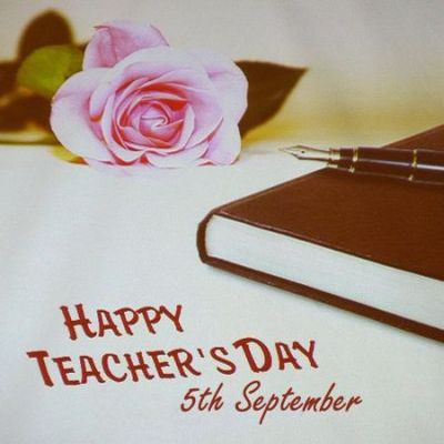 Happy Teacher's Day 5th September Rose Flower With Copy And Pen