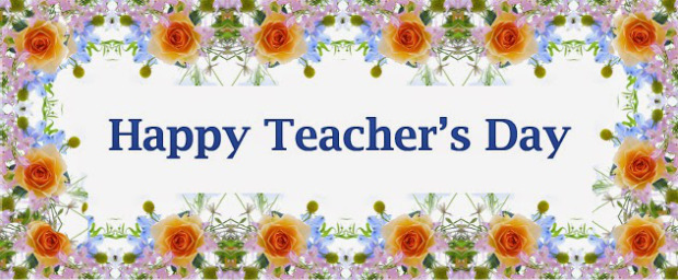 Happy Teacher's Day Flowers Banner Design