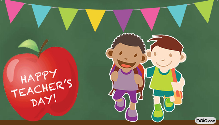 Happy Teacher's Day Kids Going To School Illustration