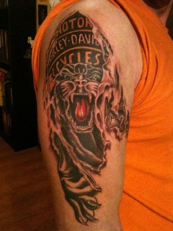 harley davidson angry panther tattoo on man right half sleeve. Black Bedroom Furniture Sets. Home Design Ideas