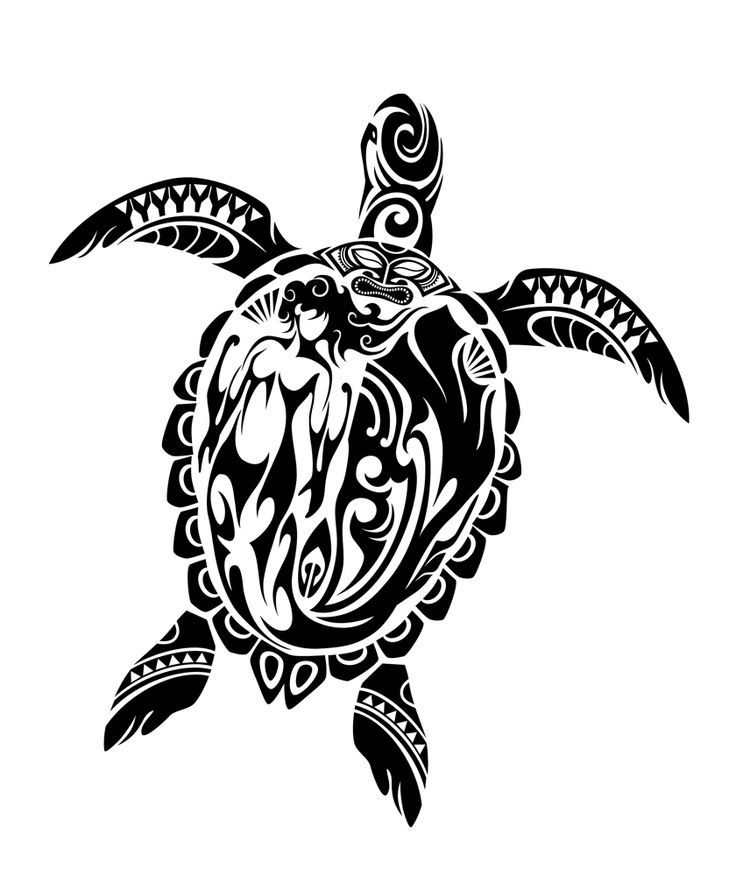 79123154d Hawaiian Black Tribal Sea Turtle Tattoo Design