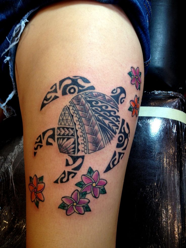 Hawaiian flowers and polynesian turtle tattoo on side leg for Polynesian thigh tattoo