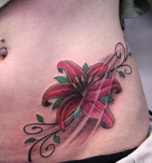 Lily Flower Tattoo On Girl Left Hip