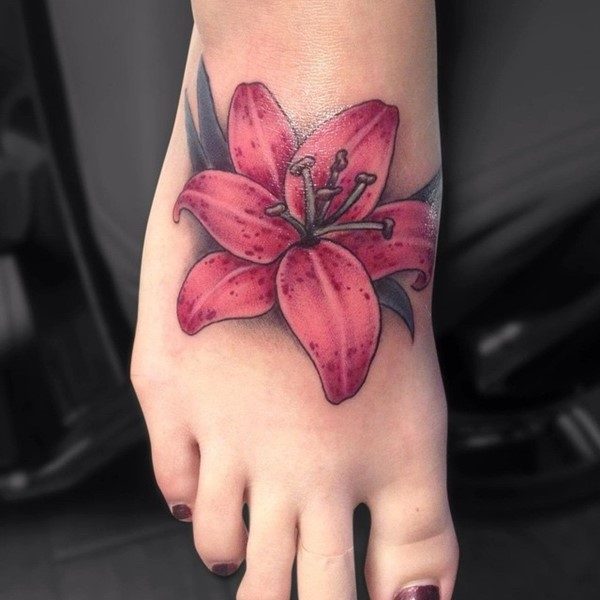 Lily Flower Tattoo On Girl Right Foot