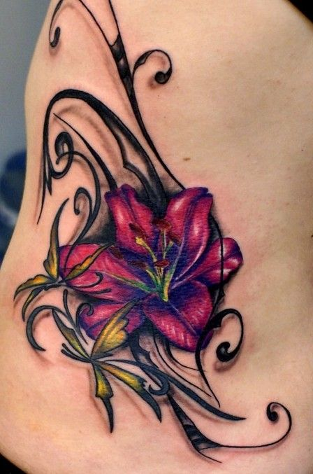 Lily Flower Tattoo On Girl Side Rib