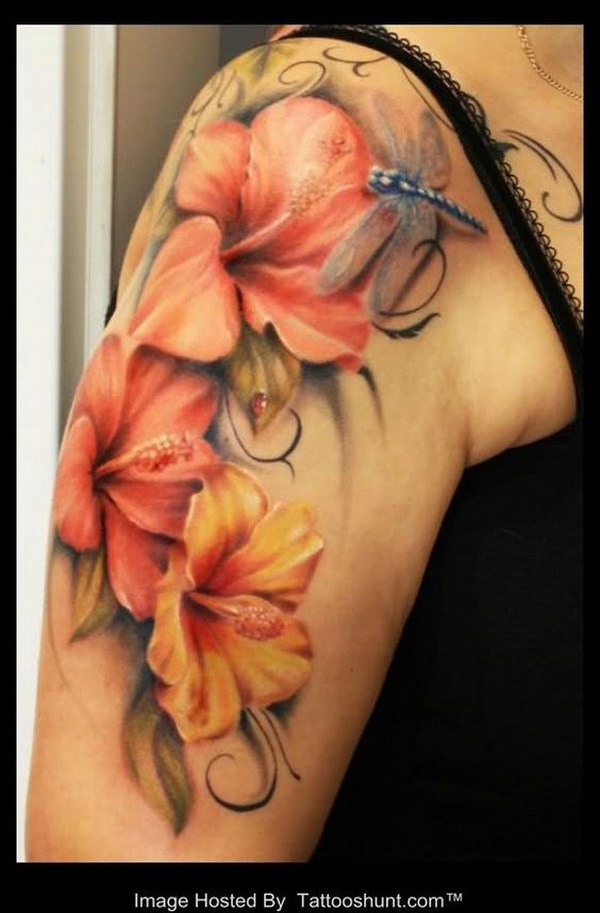 Lily Flowers And Dragonfly Tattoo On Girl Right Shoulder
