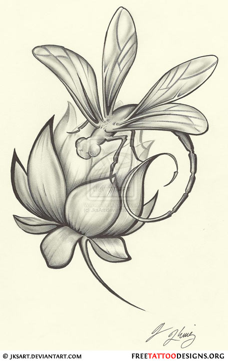 Lotus Flower And Dragonfly Tattoo Design