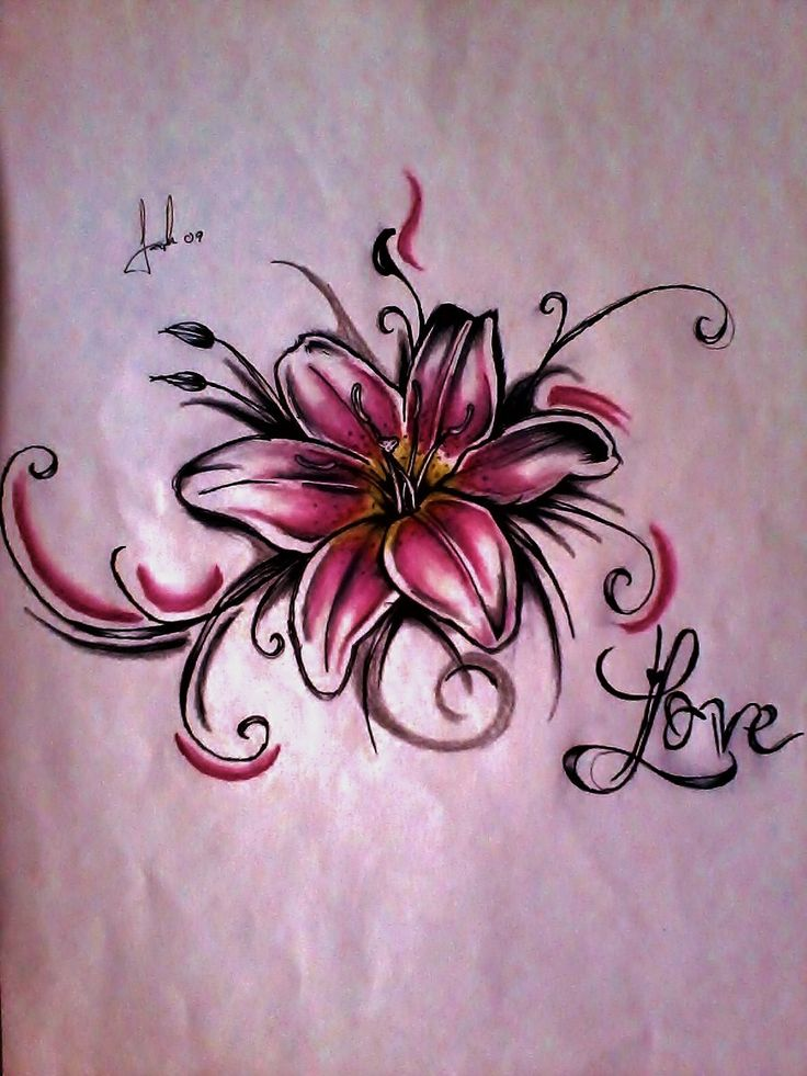 Love Word With Lily Flower Tattoo Design