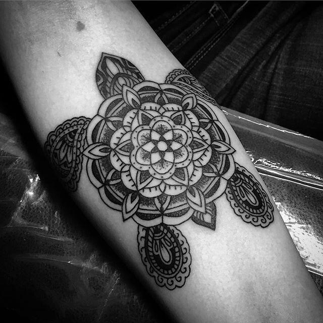 f5ba074040238 Mandala Flower Turtle Tattoo On Arm Sleeve