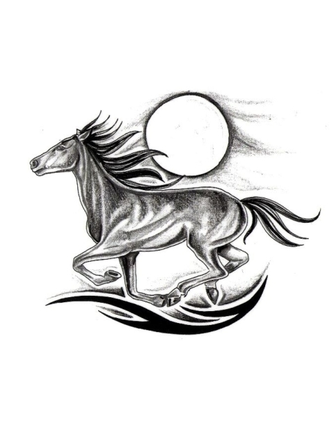 6eb313e37d63a Moon And Running Horse Tattoo Design