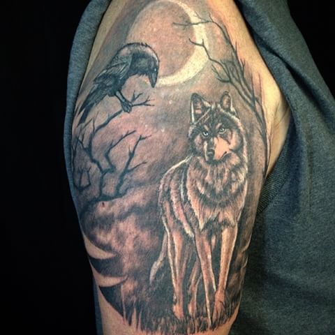 50 Wolf And Raven Tattoos With Meaning