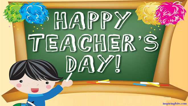National Teacher's Day Boy With Chalk Illustration