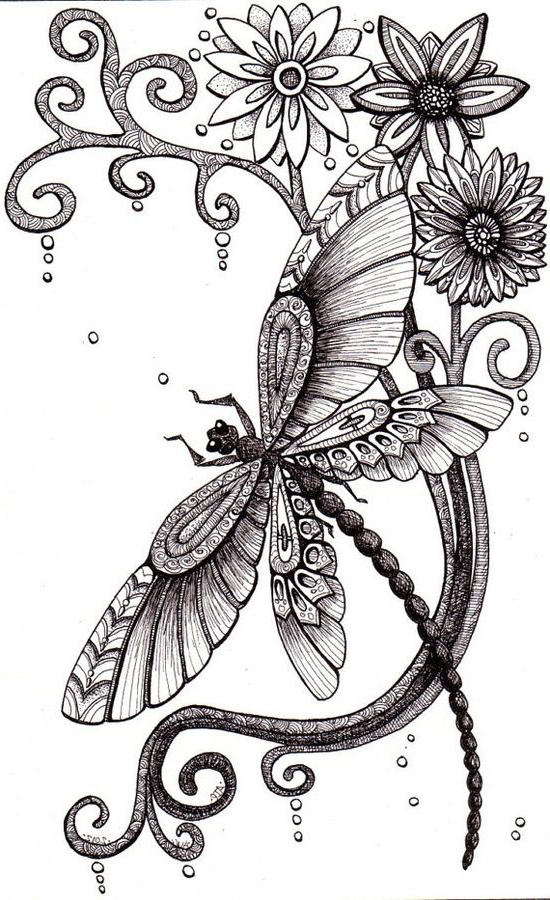 nice flowers and dragonfly tattoo design. Black Bedroom Furniture Sets. Home Design Ideas