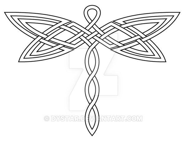 Outline Celtic Dragonfly Tattoo Sample