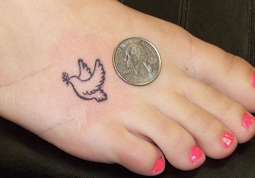 outline flying small dove tattoo on foot. Black Bedroom Furniture Sets. Home Design Ideas
