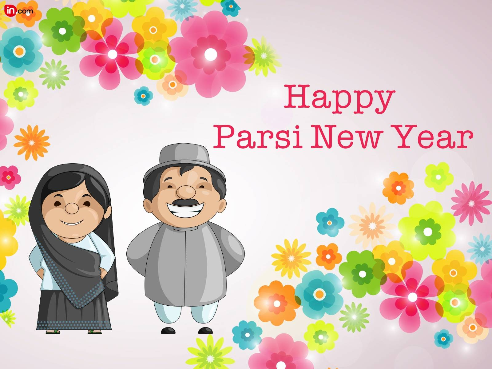 Parsi Family Wishing You Happy Parsi New Year Colorful Flowers In Background