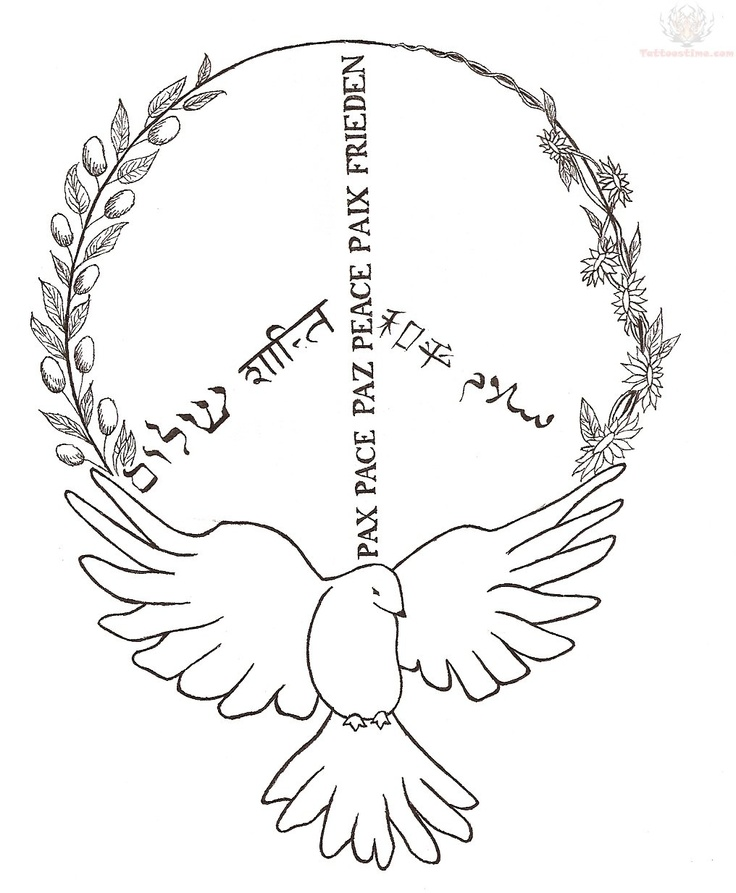 Peace Symbol And Outline Flying Peace Dove Tattoo Design