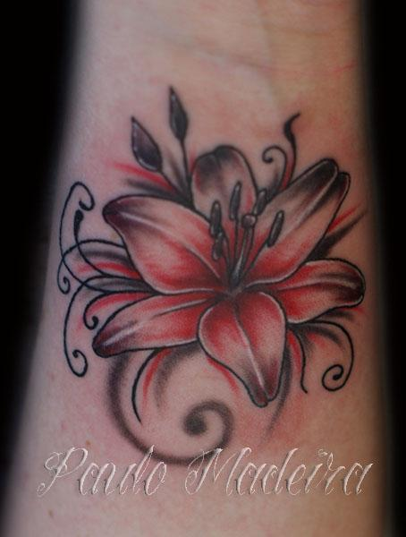 Pink And Black Lily Flower Tattoo Design