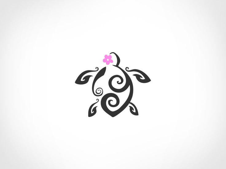 d0b8c719a Pink Flower And Tribal Turtle Tattoo Design
