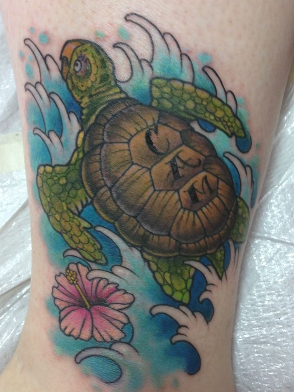 Side Hawaiian Flower Tattoos: Pink Hawaiian Flower And Sea Turtle Tattoo On Side Leg